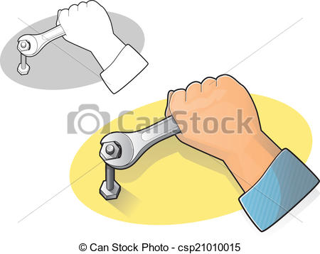 Vector Clip Art of Wrench and Hand Icon.
