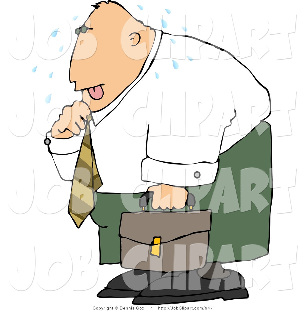 Job Clip Art of a Hot Businessman Loosening up the Tie Around His.