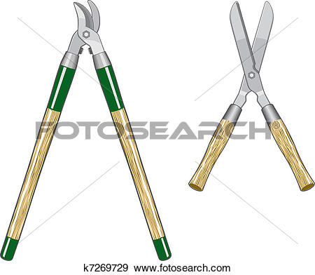 Clip Art of Garden Loppers and Clippers k7269729.