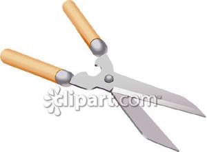 Pair of Hedge Clippers Or Loppers Royalty Free Clipart Picture.