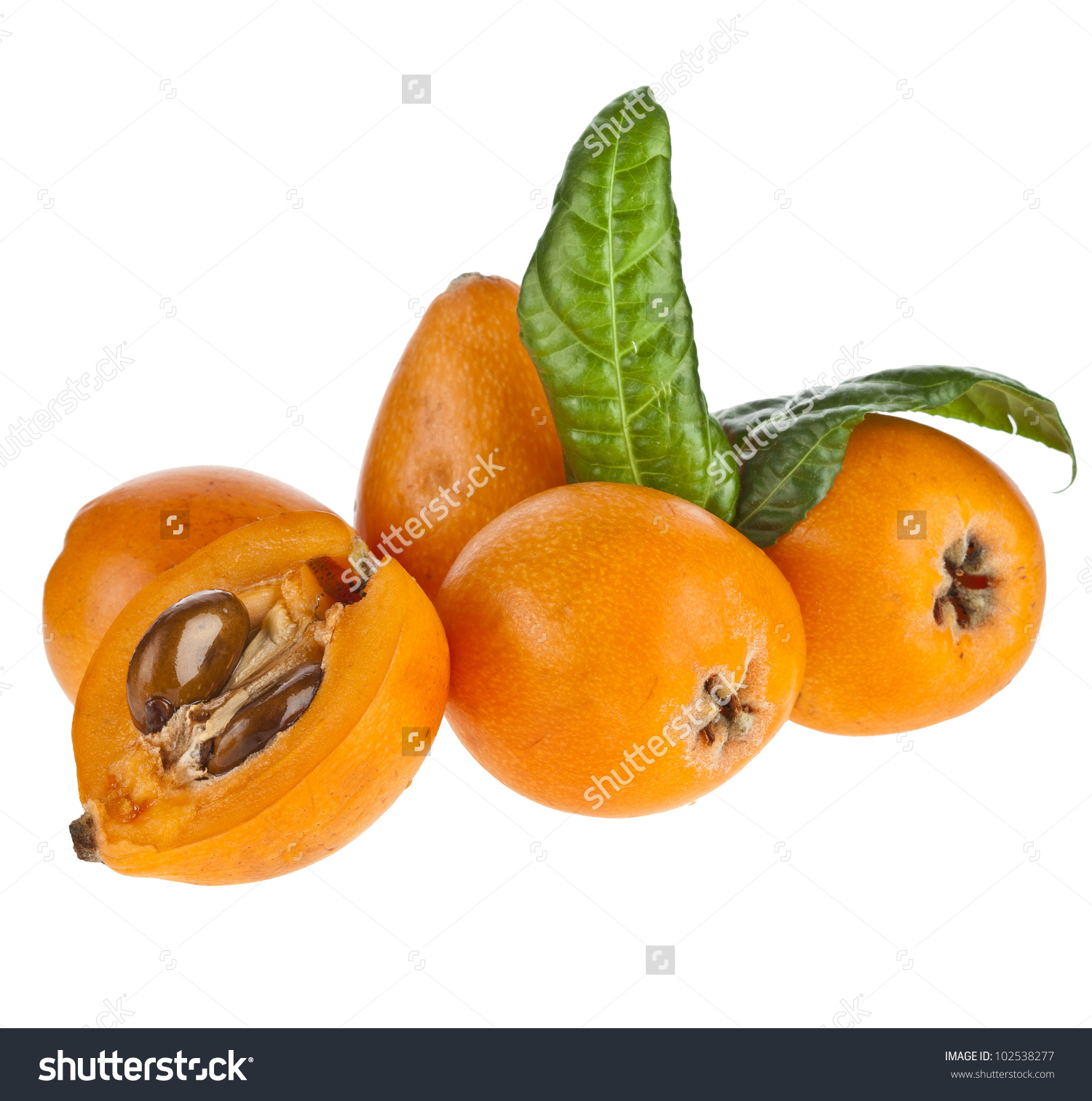 Loquat Medlar Fruit Isolated On White Stock Photo 102538277.