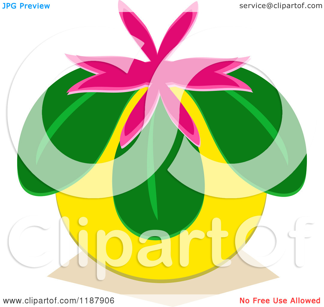 Cartoon of a Loquat Japanese Altar Fruit with a Pink Flower.