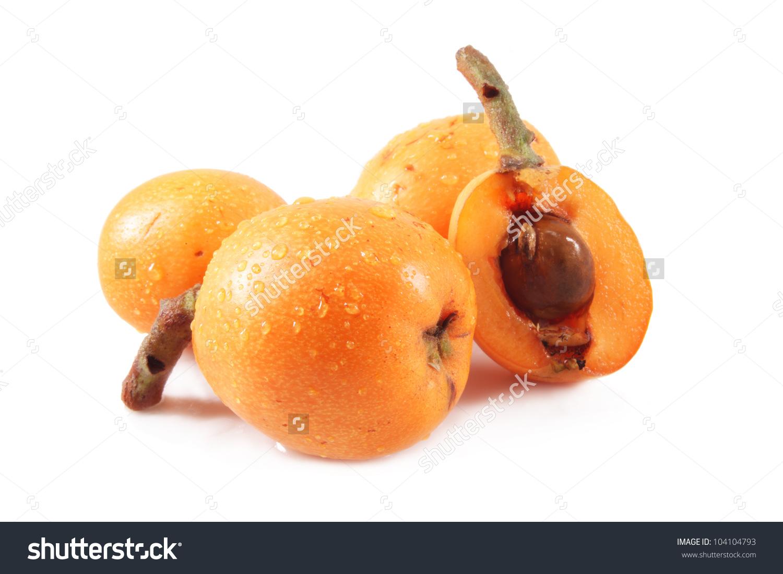 Loquat Medlar Fruit Isolated, White Background Stock Photo.