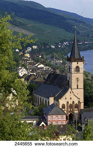Stock Image of Church in town at riverside, Rhine River, Lorch.