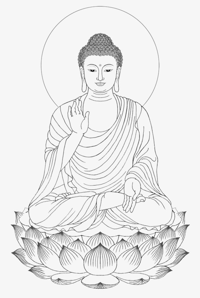 Shakya Muni Painted Portrait Sitting Buddha Drawing, Buddha.