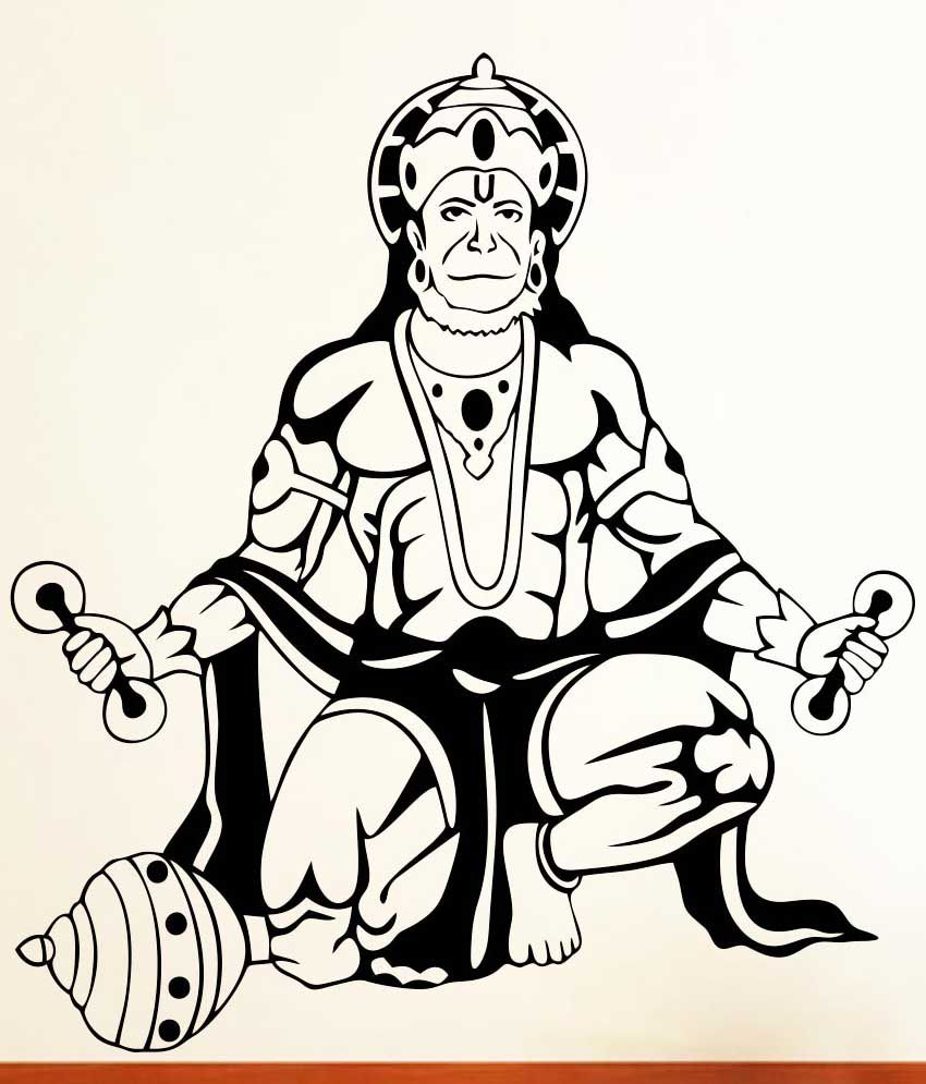 Vsquarestudio Lord Hanuman Pvc Wall Sticker.