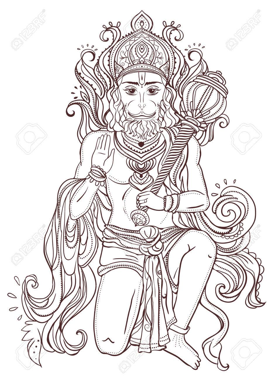 Ornament card with of Lord Hanuman. Illustration of Happy Dussehra.