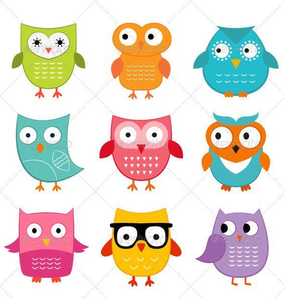GraphicRiver Cute owls set 2781948.