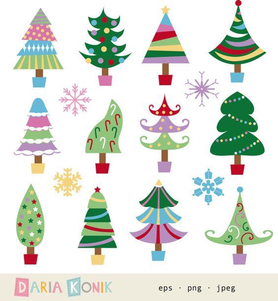 Christmas Tree Clip Art Set.