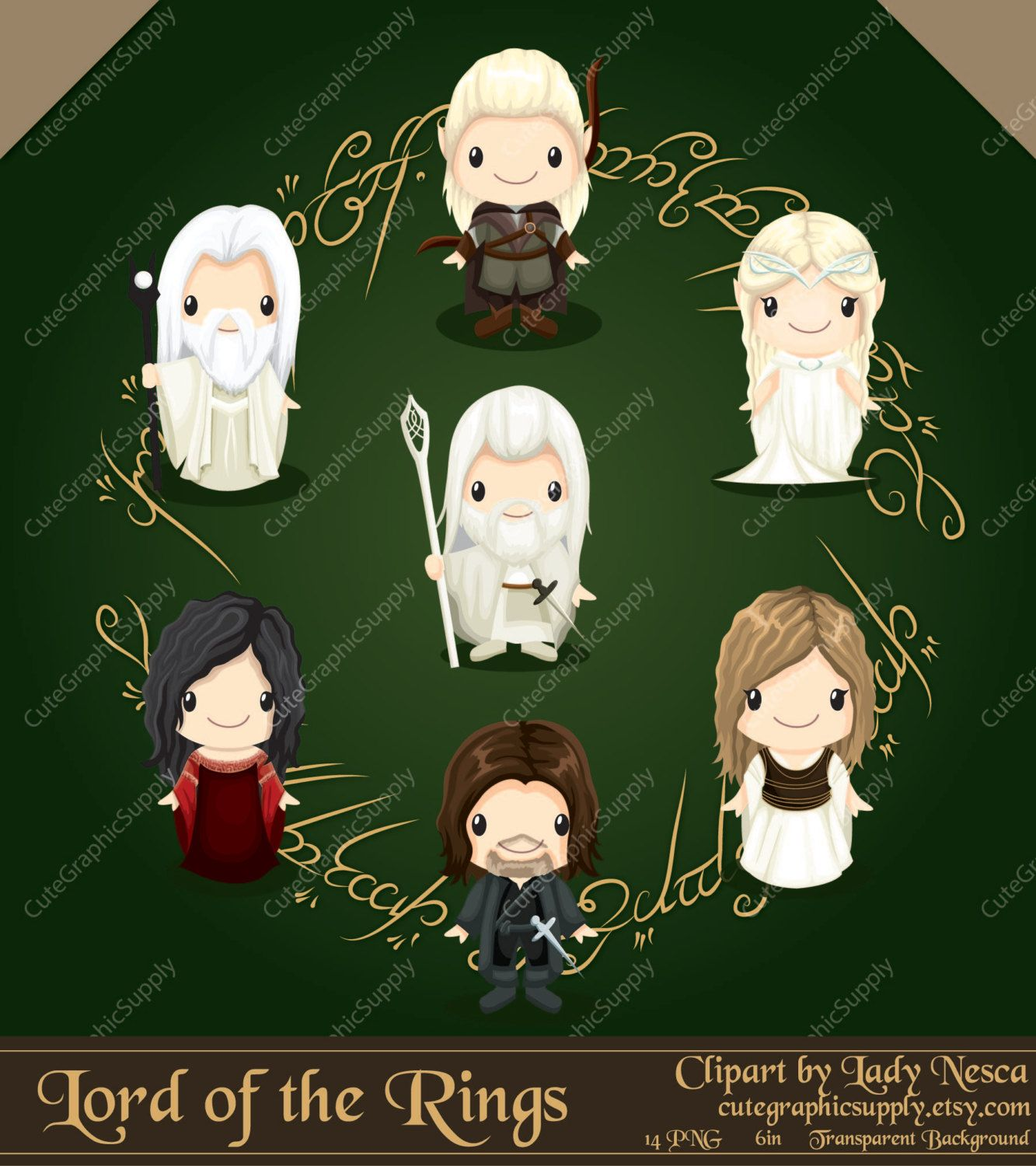 Lord of the Rings inspired clipart hobbit by.