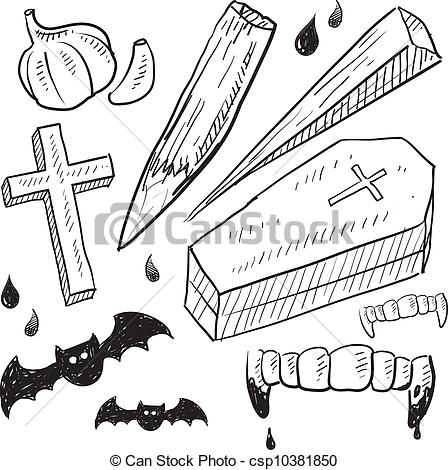 Clipart Vector of Vampire lore objects sketch.
