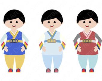 Korean Girl Hanbok Hanbok Clip Art Hanbok by ScrapbookDigitalArt.