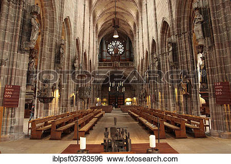 """Stock Images of """"Interior of the Gothic Lorenzkirche church or St."""