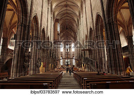 """Picture of """"Interior of the Gothic Lorenzkirche church or St."""
