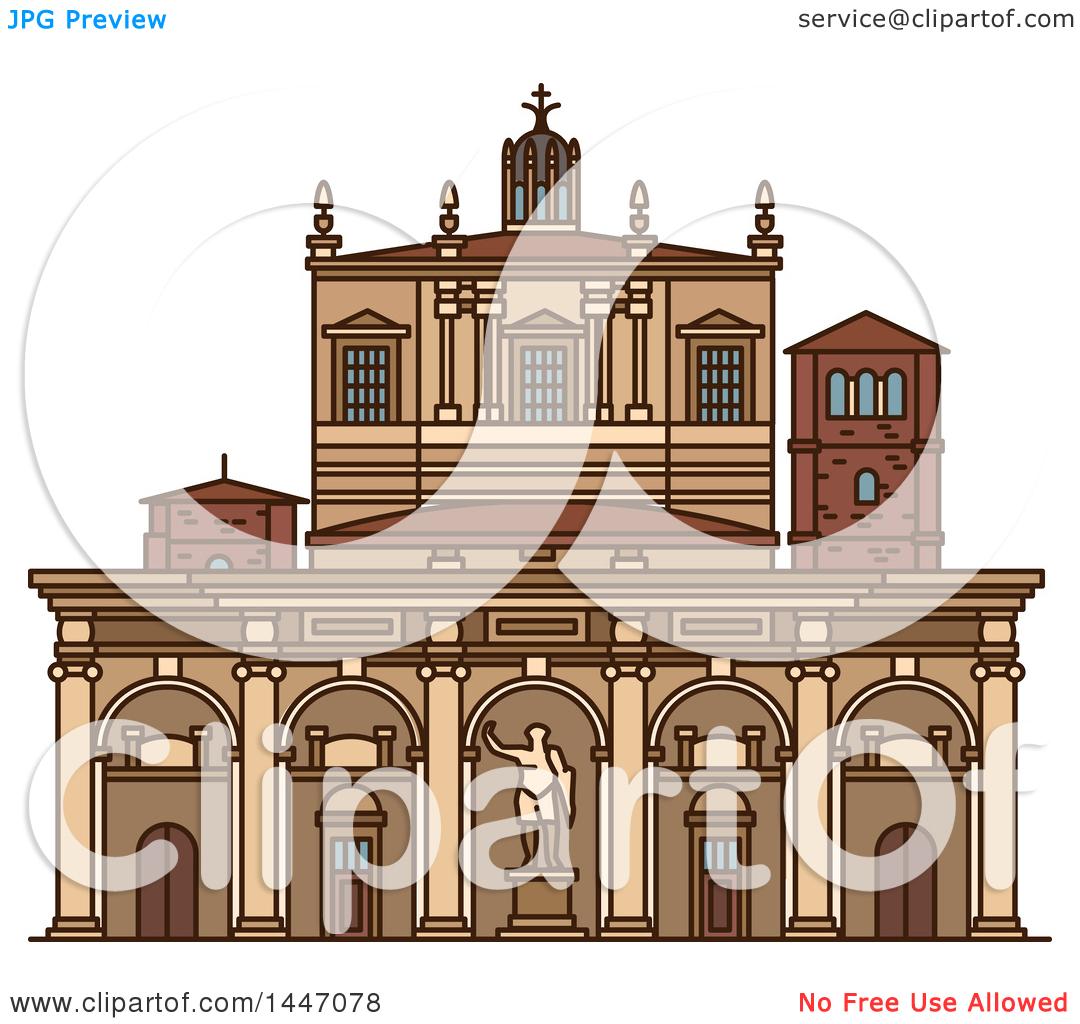 Clipart of a Line Drawing Styled Italian Landmark, Basilica of San.