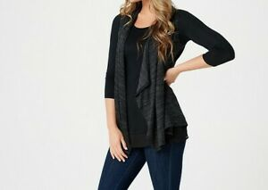 Details about A269657 LOGO by Lori Goldstein Sweater Knit Vest with Knit  Top Twin Set(353.