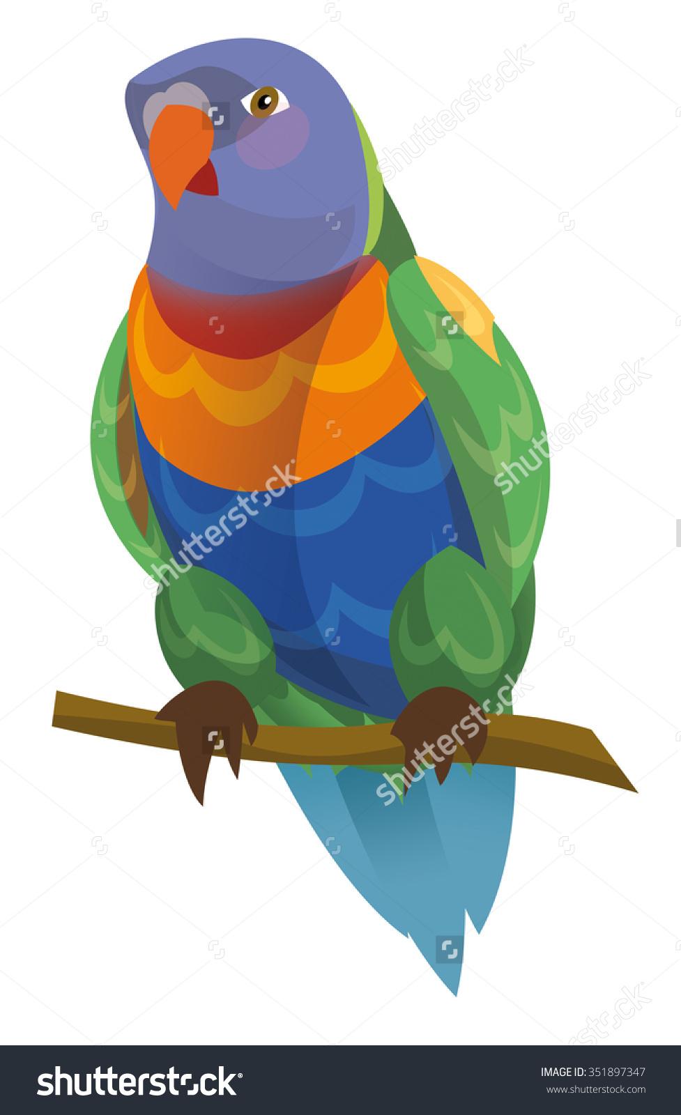 Cartoon Parrot Rainbow Lorikeet Isolated Illustration Stock.