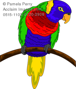 Clip Art Illustration of a Colorful Parrot.