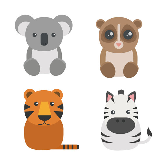 Items similar to Clipart Animals Cute Scrapbooking Tiger Koala.