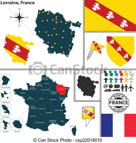 Vector Clip Art of Map of Lorraine, France.