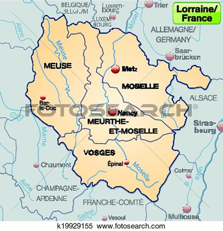Clipart of Map of lorraine k19929155.