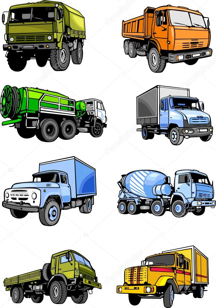 Eight lorries. Cars. — Stock Vector © Digital.