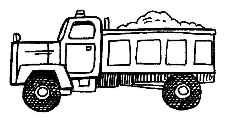 Black And White Dump Truck Clipart.