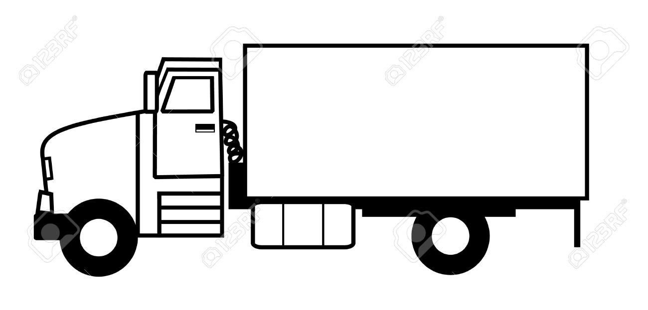 Clipart Truck Black And White.