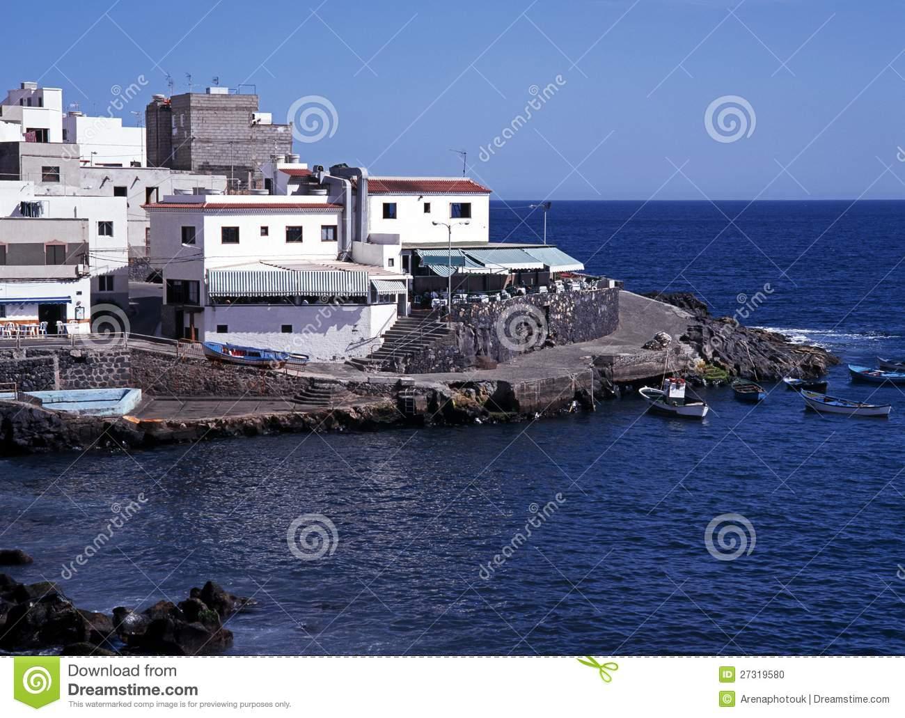 Harbour, Playa De Los Abrigos, Tenerife. Stock Photo.