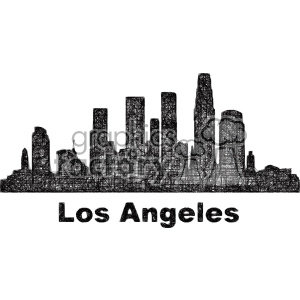 black and white city skyline vector clipart USA Los Angeles . Royalty.