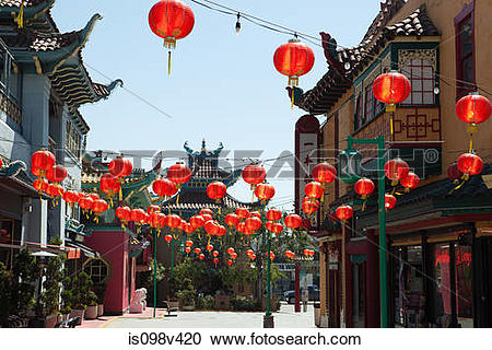Stock Photography of Chinatown, Downtown LA, Los Angeles County.