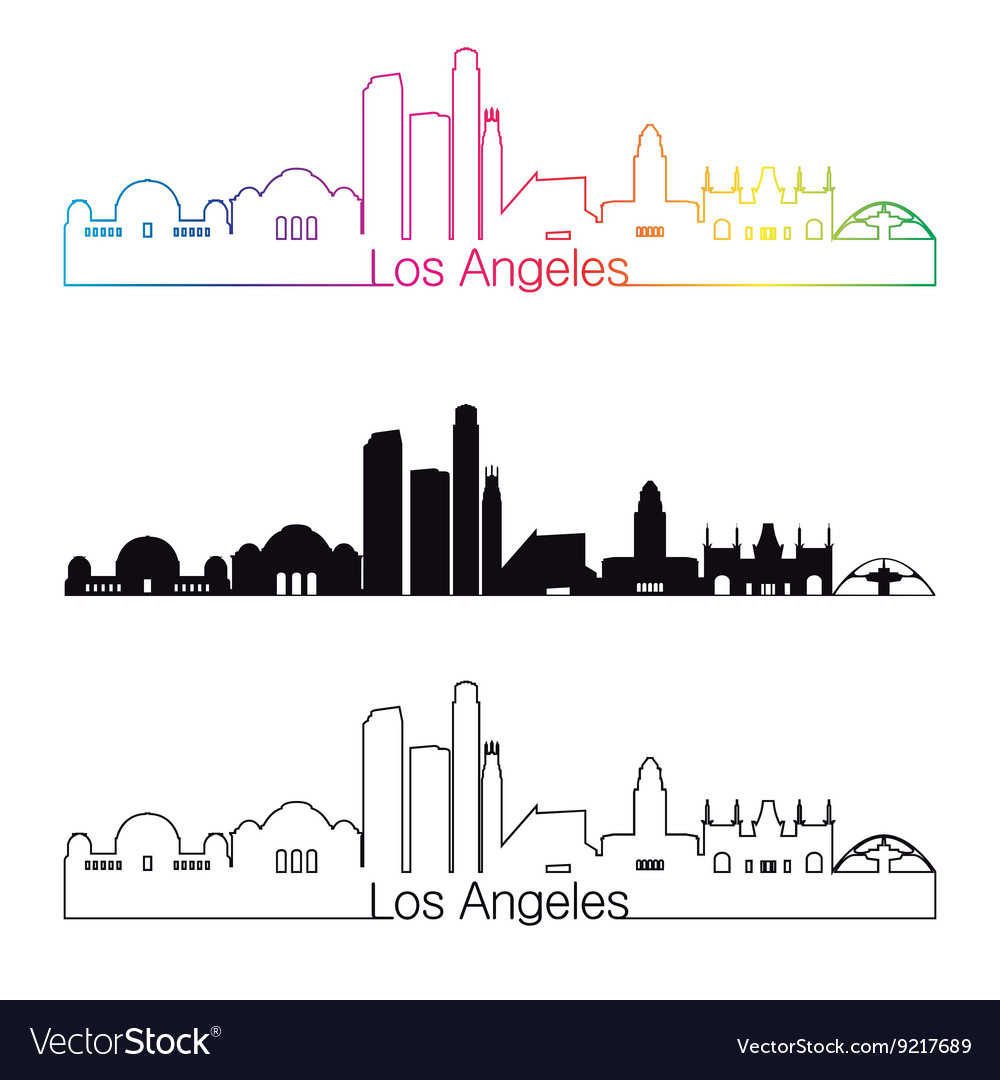 Los Angeles skyline linear style with rainbow.