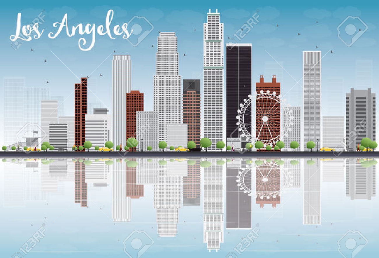 Los angeles downtown clipart.