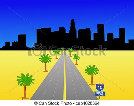 Clip Art of Los Angeles with interstate sign.