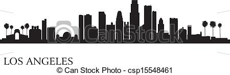 Clip Art Vector of Los Angeles city skyline silhouette background.