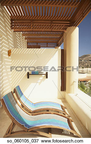 Picture of Resort hotel balcony with lounge chairs, Los Cabos.