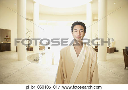 Picture of Man in robe at health spa, Los Cabos, Mexico.