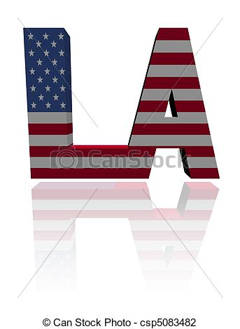 Clip Art of Los Angeles text with American flag illustration.