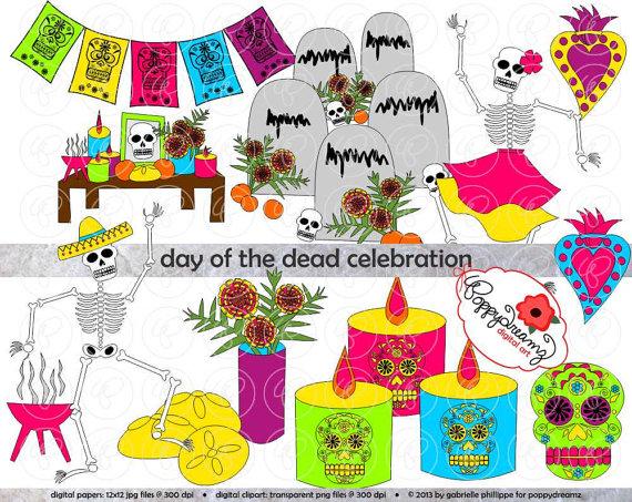 Day of the Dead Dia de los Muertos Celebration: Clip Art by.