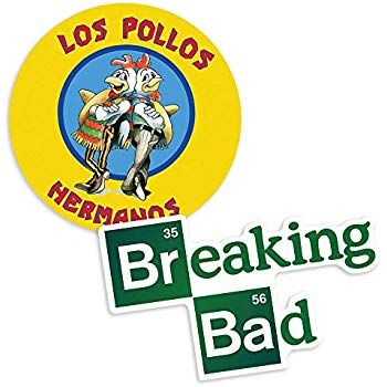 Popfunk Breaking Bad Logo and Los Pollos Hermanos Collectible Stickers.