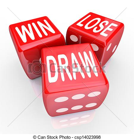 Stock Illustration of Win Lose Draw Words Three 3 Red Dice.