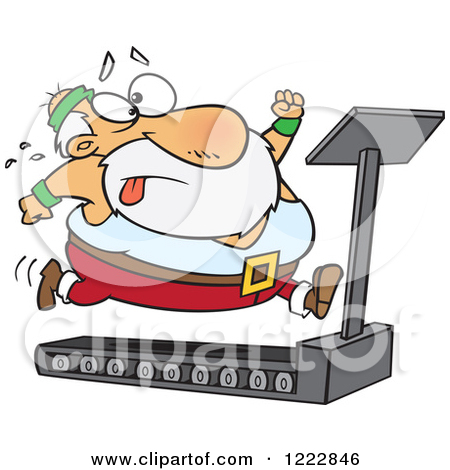 Clipart of Santa Trying to Run and Lose Weight on a Treadmill.