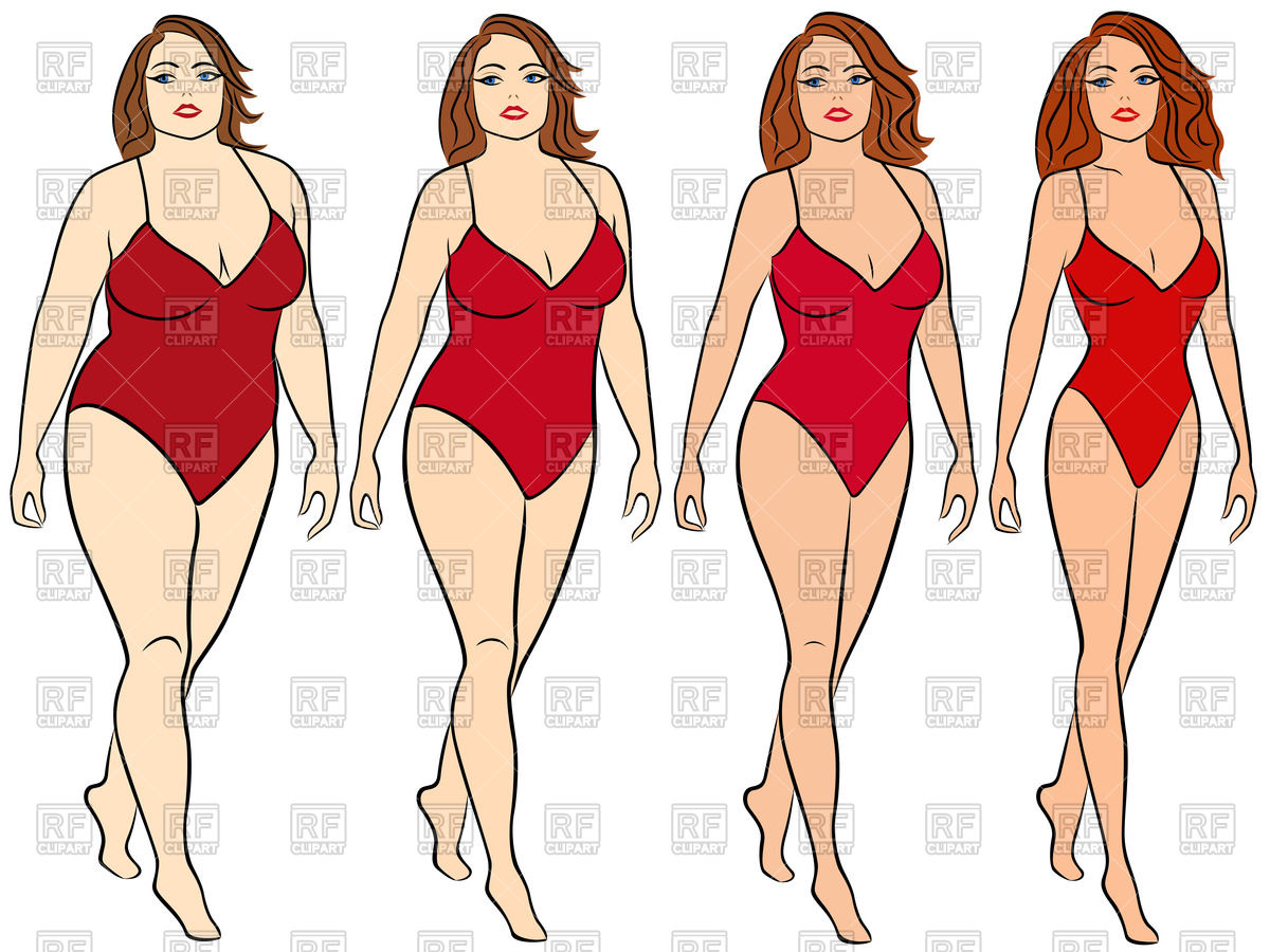 Woman in swimsuit on the way to lose weight Stock Vector Image.