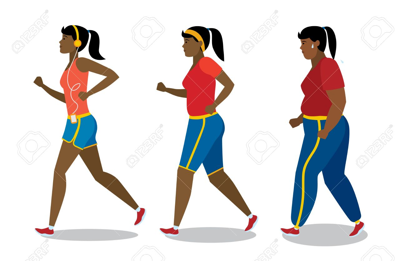 Weight loss stages on white background. African american girl...