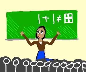 Teacher fighting a losing battle (drawing by Annalyn).