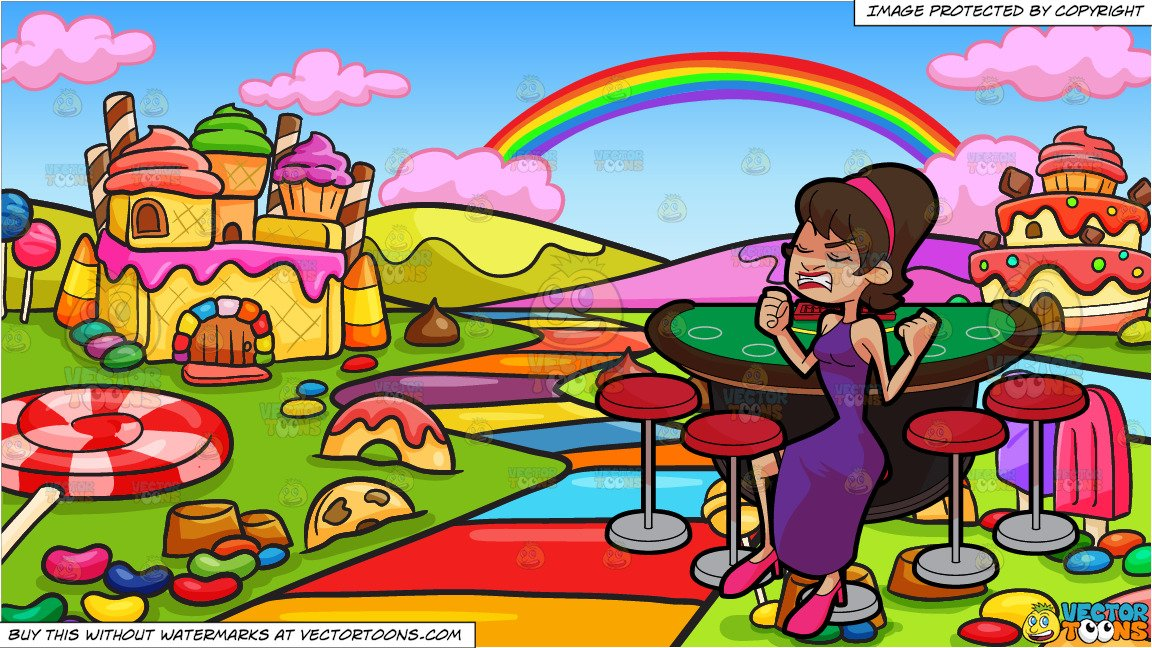 A Frustrated Woman Losing Money In A Casino and A Candy Land Background.