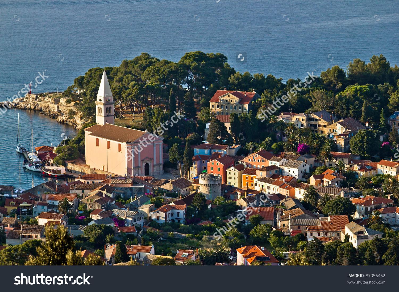 Veli Losinj Panoramic Aerial View, Island Of Losinj, Croatia Stock.