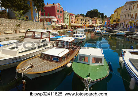 Stock Image of Boats in the fishing harbour of Veli Losinj, Losinj.