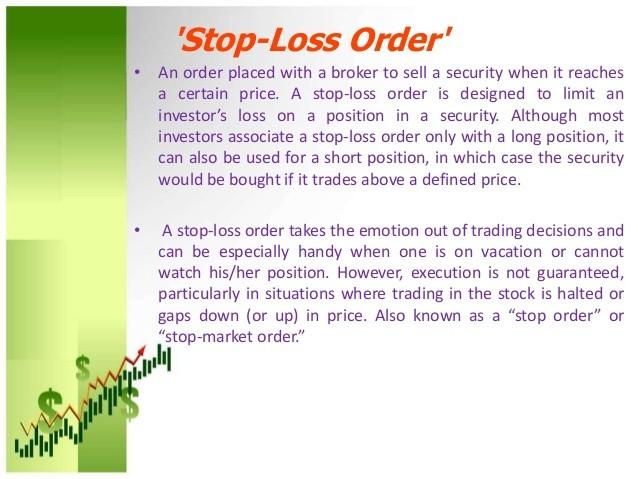 Stop loss order (Stock market) Definition Online Encyclopedia.