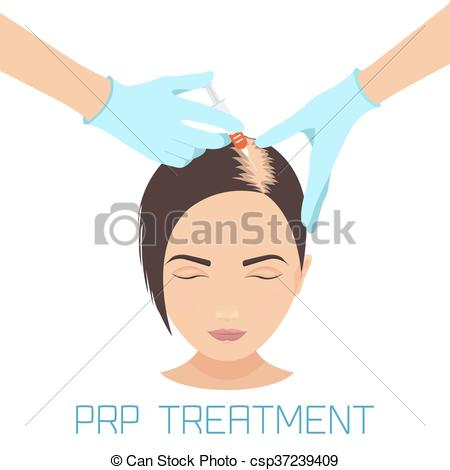 Vector Clipart of PRP treatment for hair loss.